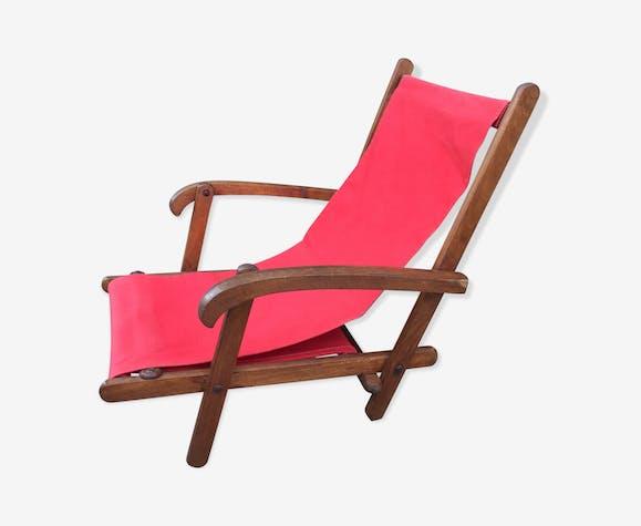 fauteuil de plage pliant ann es 50 tissu rouge. Black Bedroom Furniture Sets. Home Design Ideas
