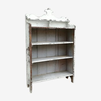 Ancient white shelf in patinated pine