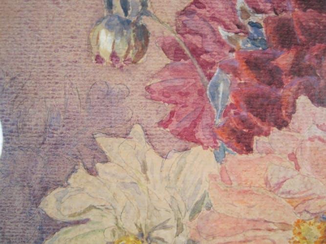 Aquarelle bouquet de fleurs dahlias signé Joseph Martin Duby
