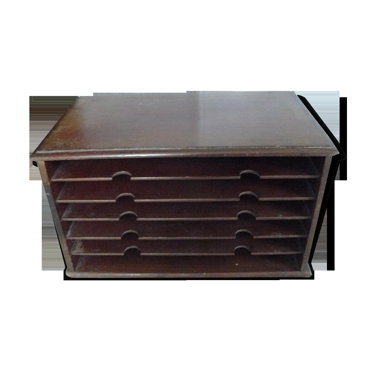 Classeur trieur de bureau en bois foncé à poser bois matériau