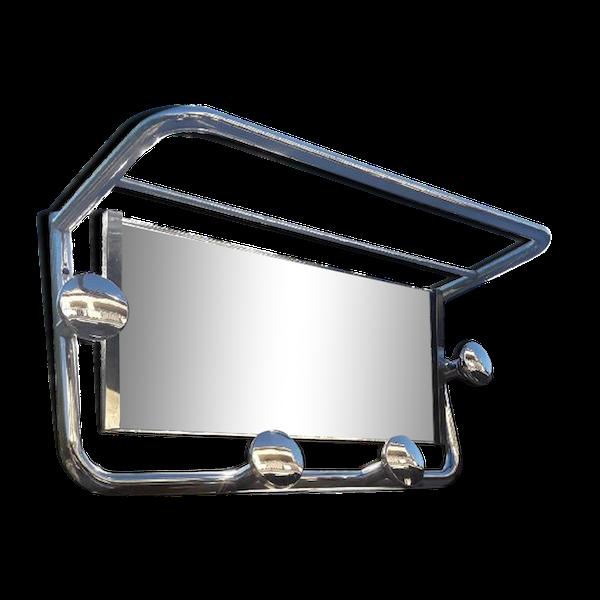 Porte manteau-chapeau miroir année 50/60 aluminium vintage