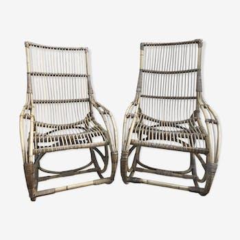 rocking chair en rotin ann e 60 rotin et osier bois couleur vintage ysfqe5g. Black Bedroom Furniture Sets. Home Design Ideas
