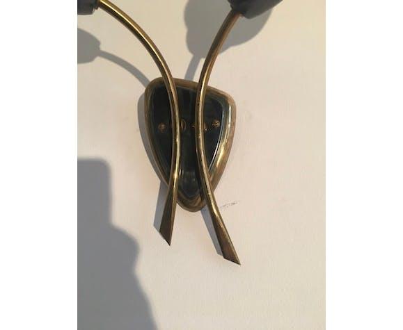 Paire d'appliques opaline et laiton - années 50
