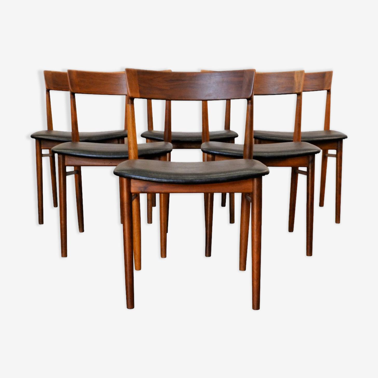 Set de 6 chaises en palissandre vintage Henry Rosengren