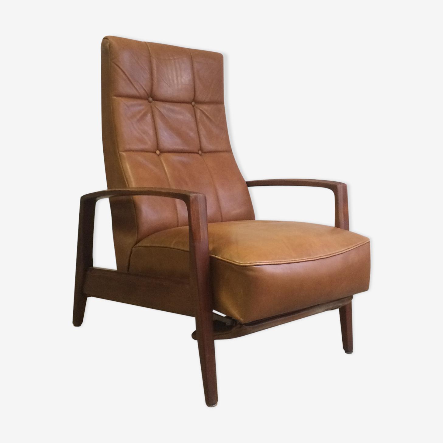 Fauteuil scandinave avec repose pied intégré en cuir cuir bois