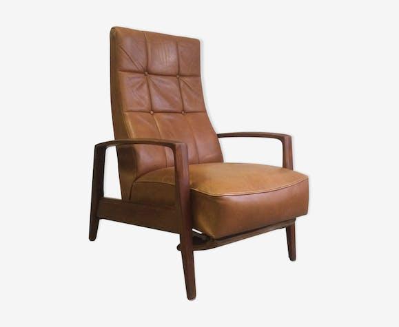 fauteuil scandinave avec repose pied intgr en cuir - Fauteuil Scandinave Avec Repose Pied