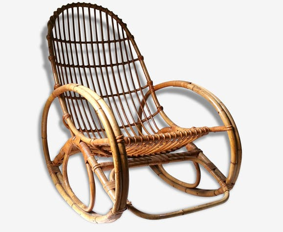 grand fauteuil rotin a bascule adulte rocking chair. Black Bedroom Furniture Sets. Home Design Ideas
