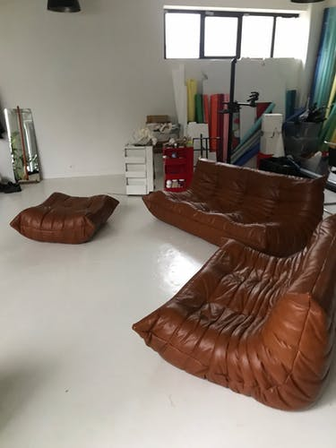Leather Togo sofas set by Michel Ducaroy for Ligne Roset