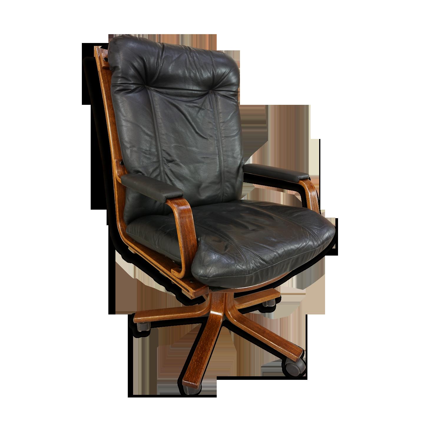 Fauteuil de bureau en cuir et bois cuir noir scandinave