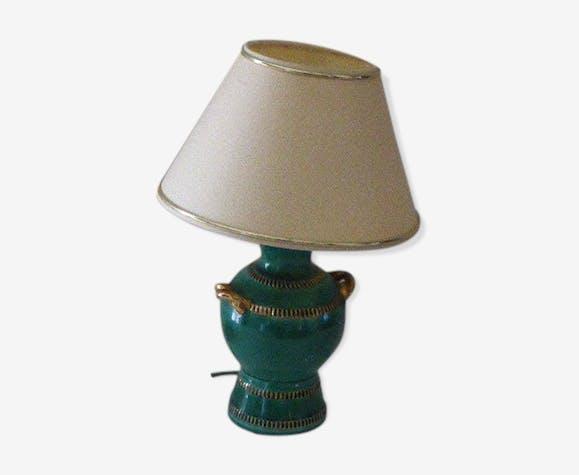 Lampe de table de chevet base en ceramique emaillée verte et abat jour beige vintage 1950/60