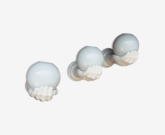 Three ceramic and glass wall light