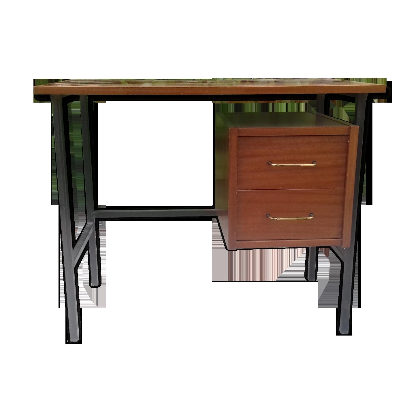 Bureau tiroirs bois et métal noir année vintage bois