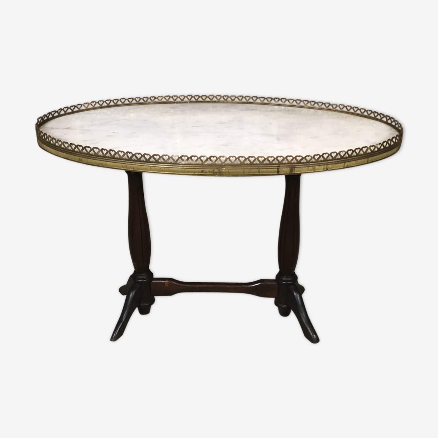 On foot double ringed gallery brass coffee table, marble top