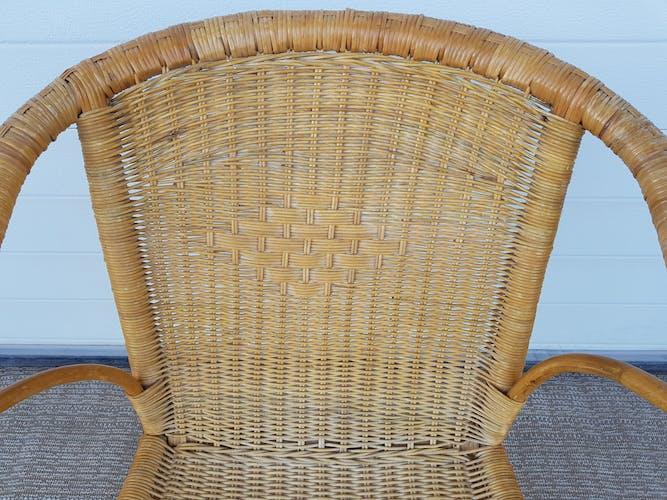 Fauteuil ancien en osier rotin et bambou années 50 vintage