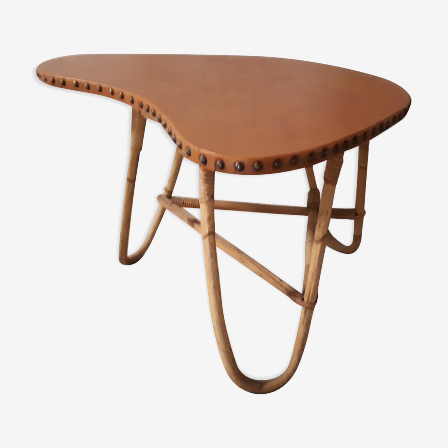 Table basse en rotin et skaï des années 60