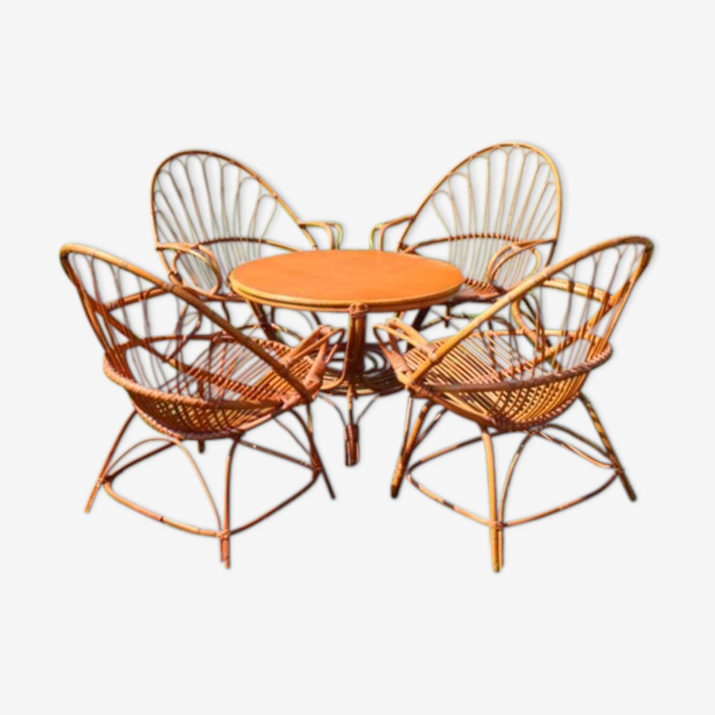 Salon en rotin vintage 4 fauteuils et table