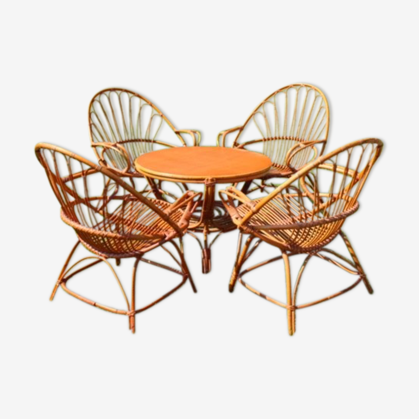 Vintage 4 armchairs and table rattan lounge