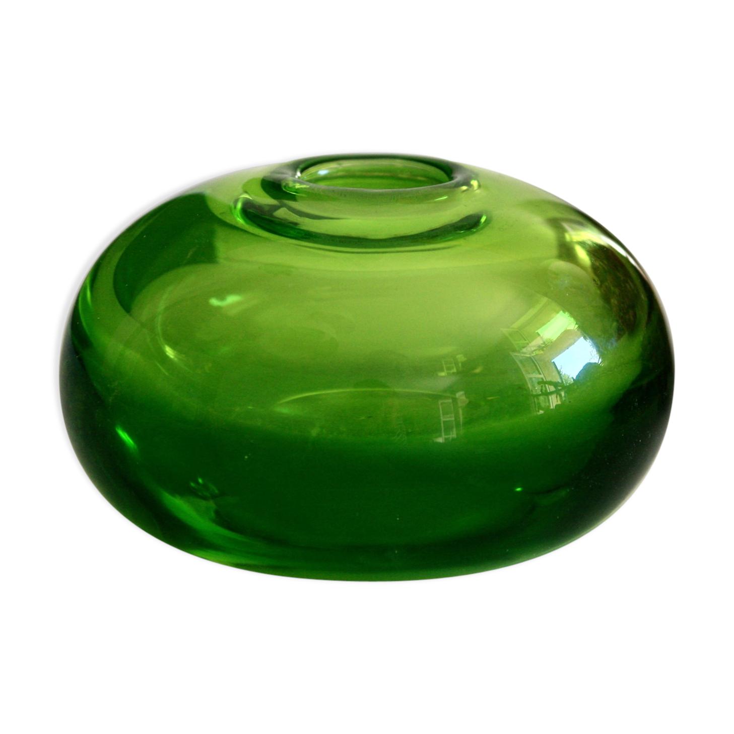 Vase soliflore Murano des années 50 vert de cinabre