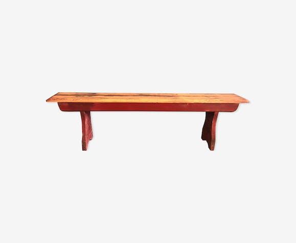 Banc en bois vieux long rouge