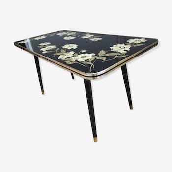 Table basse pied comas plateau verre