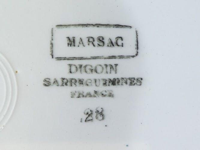 Plat rond en faiences Digoin Sarreguemines modele marsac