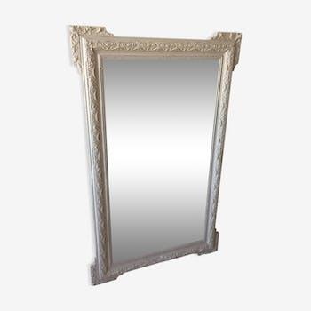 Grand miroir avec moulure patiné en gris 146 x 93 cm