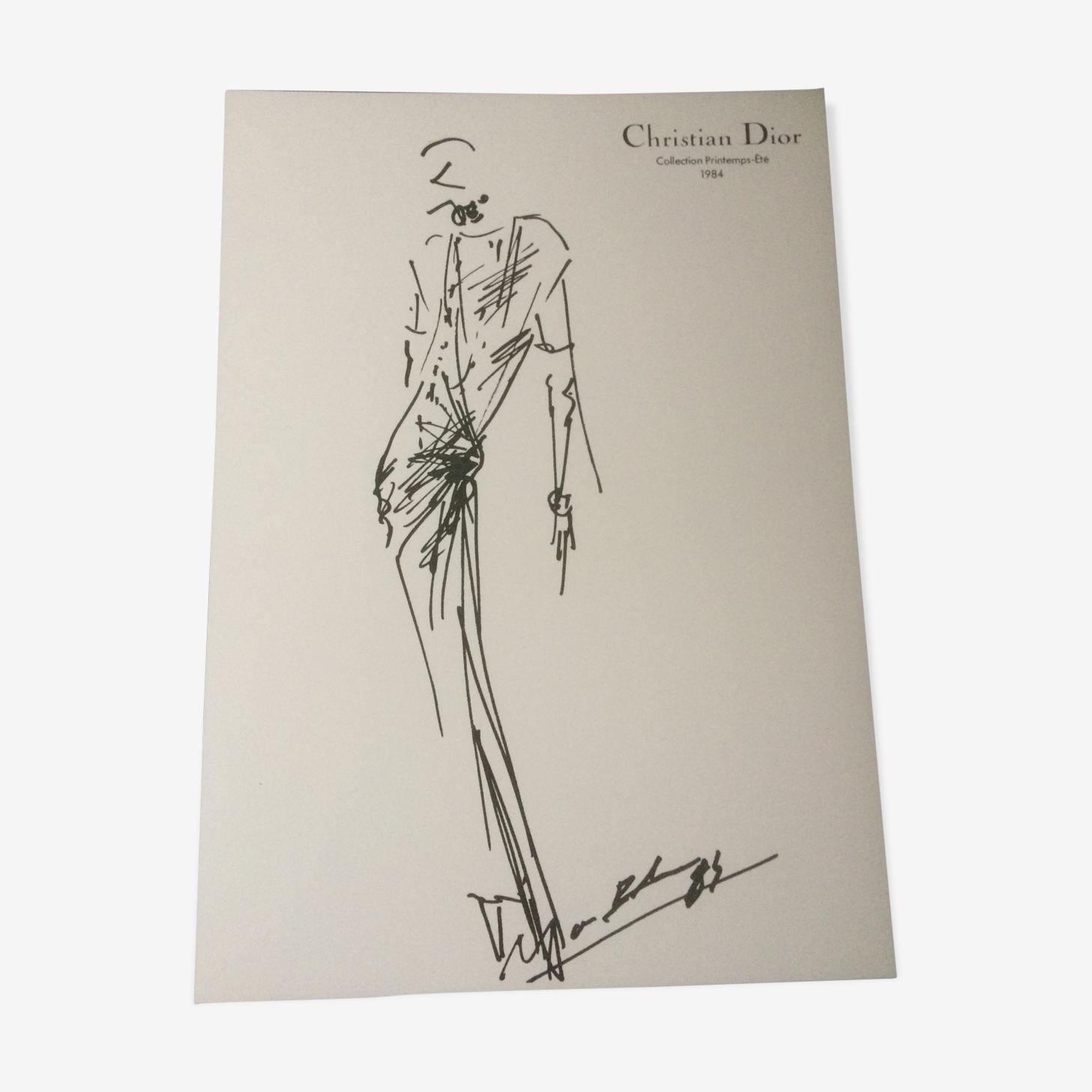 Illustration de mode et photographie originale Christian Dior  vintage de presse fin des années 80