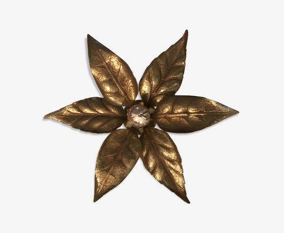 Applique vintage en fleur par willy daro années 70 brass golden