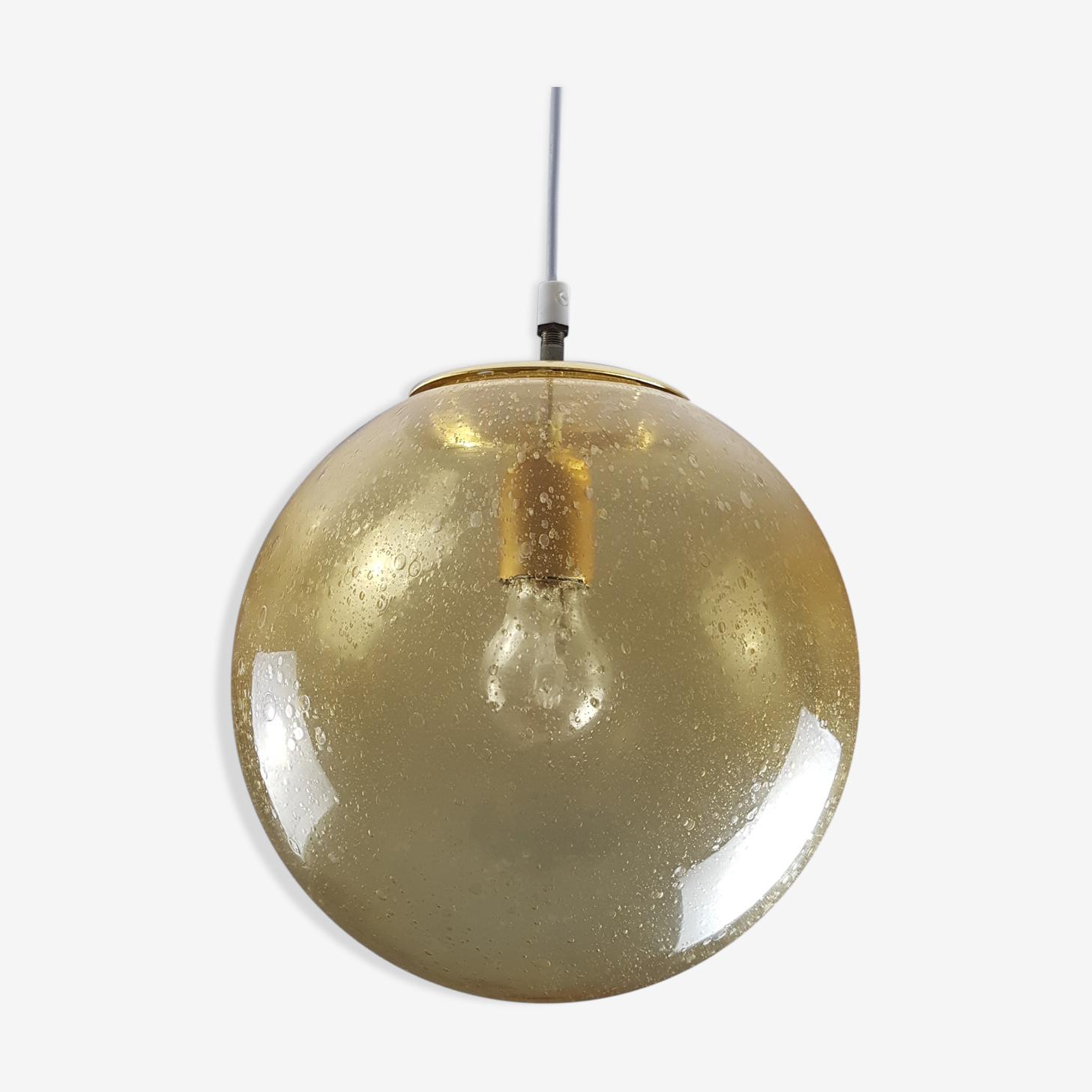 Globe en verre ambré bullé