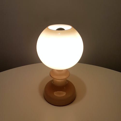 Mid century opaline glass table lamp, Italy 1960s