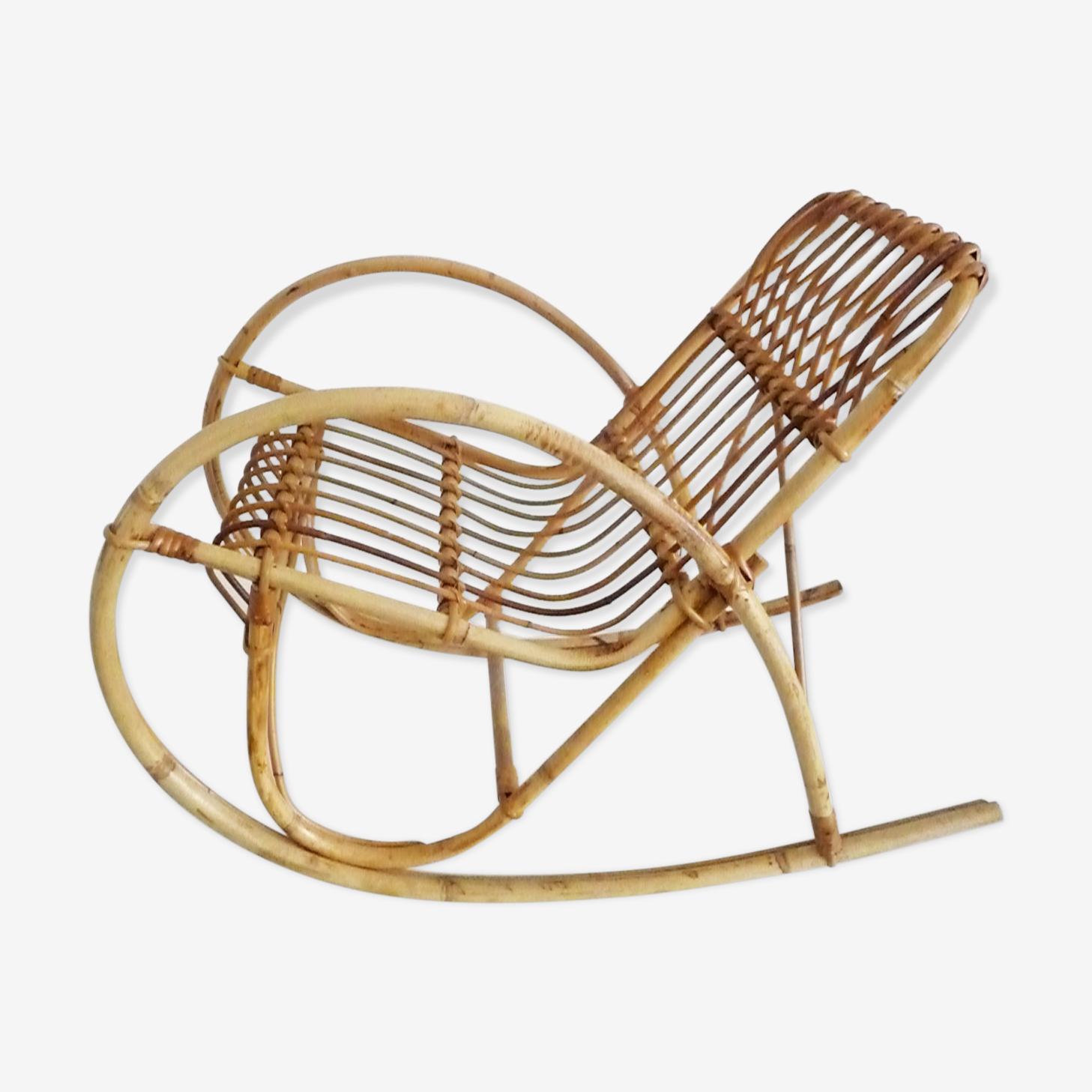 Rocking-chair en rotin années 60
