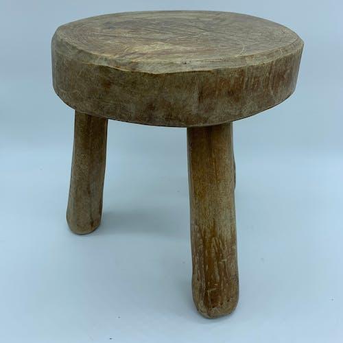 Brutalist wooden tripod stool