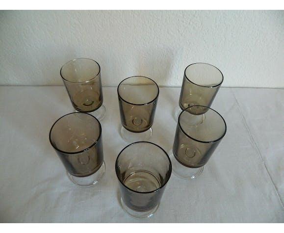 Set de 6 verres à vin fumé noir Luminarc France vintage 70