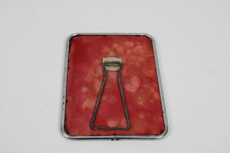 Red barber mirror 15x19,5cm