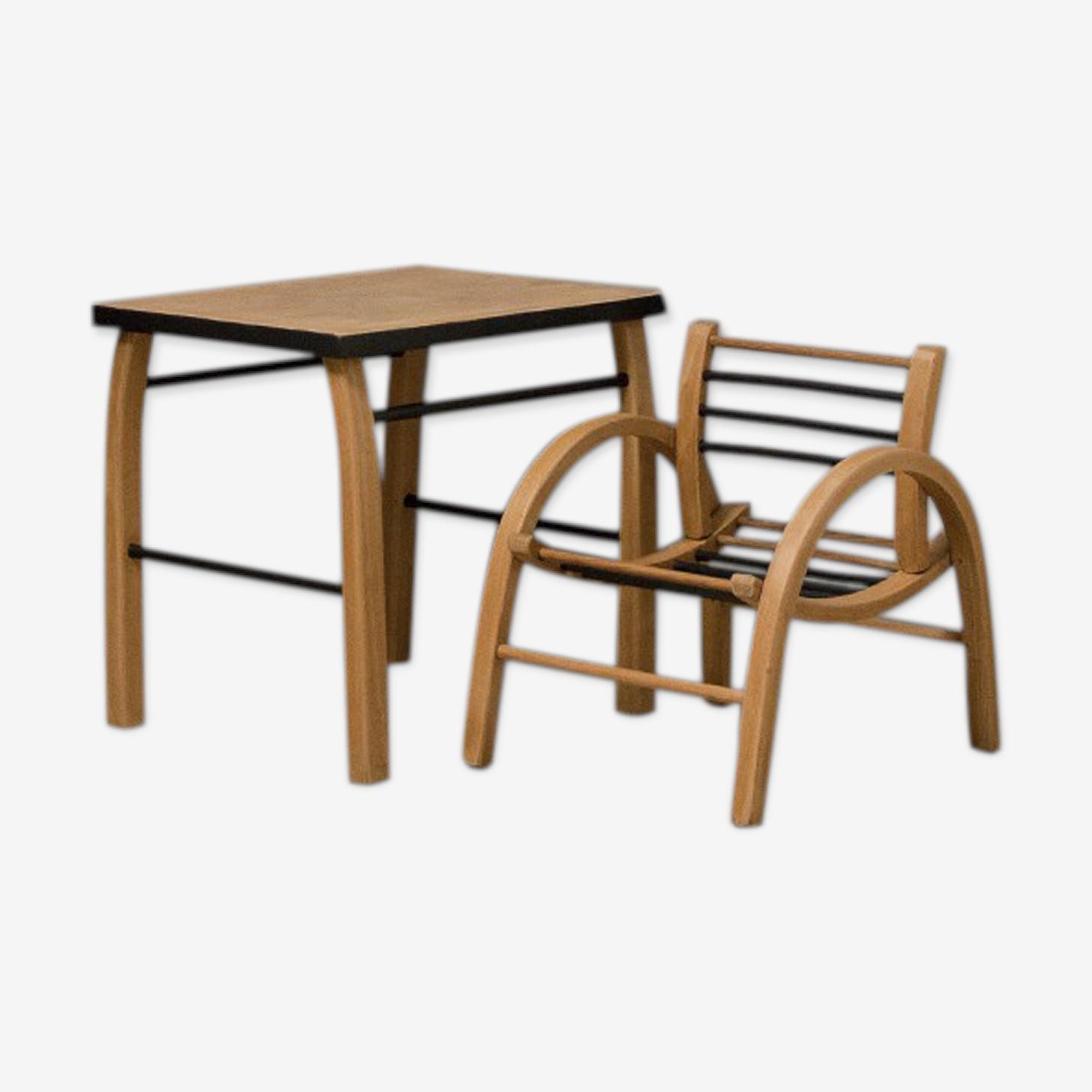 Ensemble bureau et chaise esprit Baumann