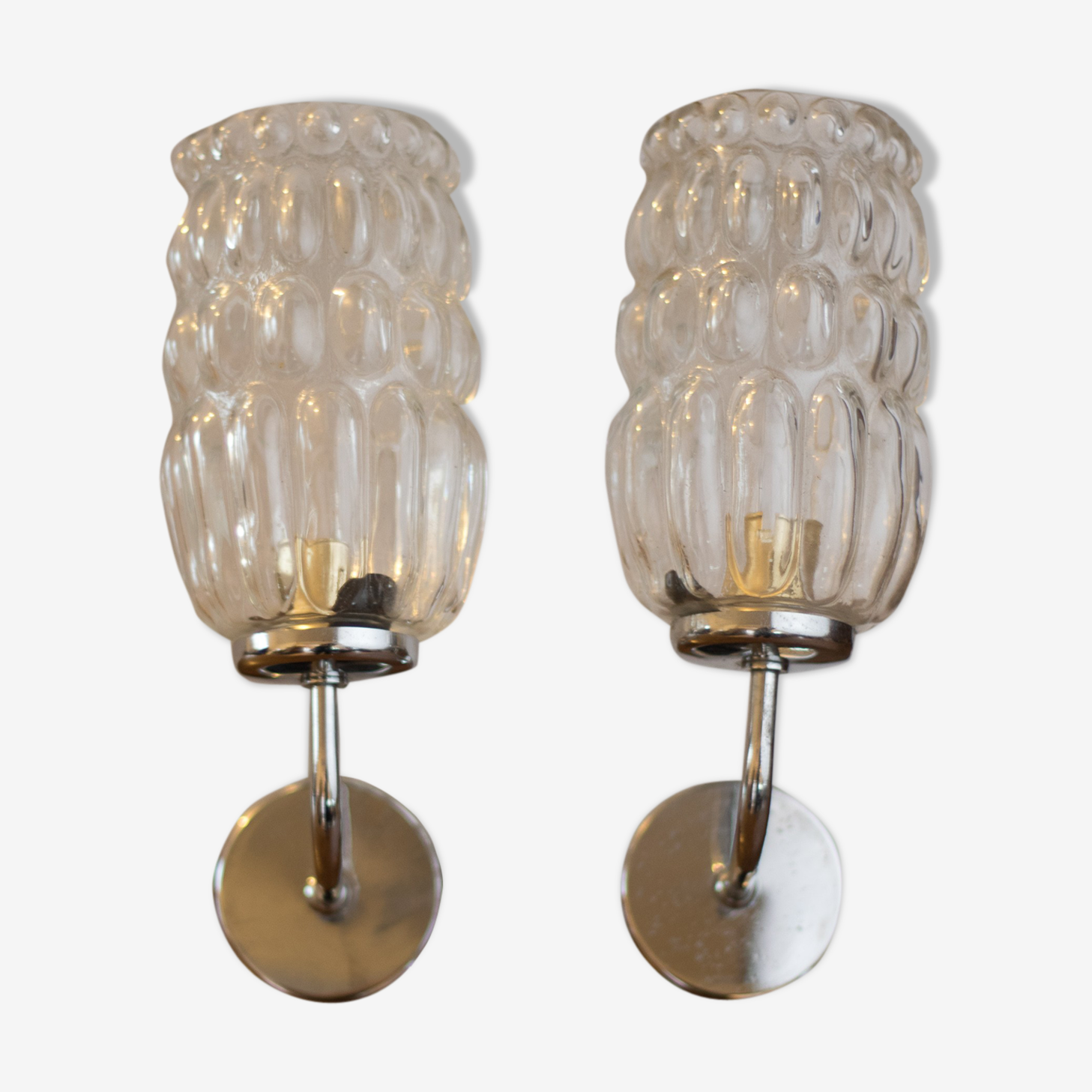 Pair of bubble glass wall lamps 1970