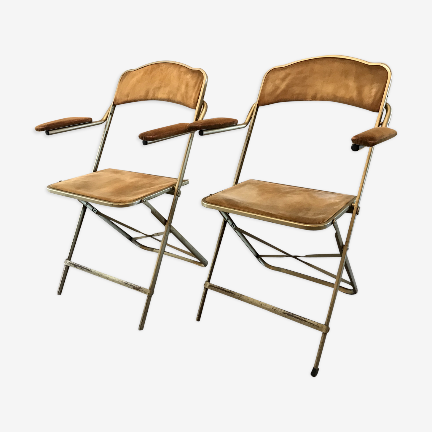Pair of folding chairs with armrests vintage