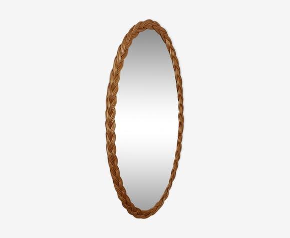 Miroir ovale en rotin 37x70cm