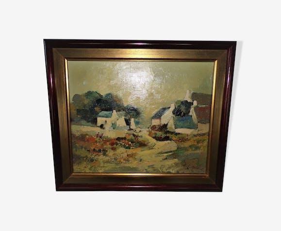 Tableau peinture a l'huile signé Sokol 1972