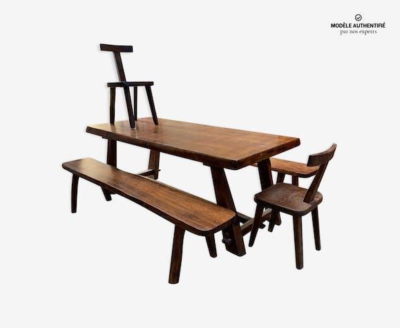 Ensemble T par Olavi Hanninen table 2 bancs 2 chaises
