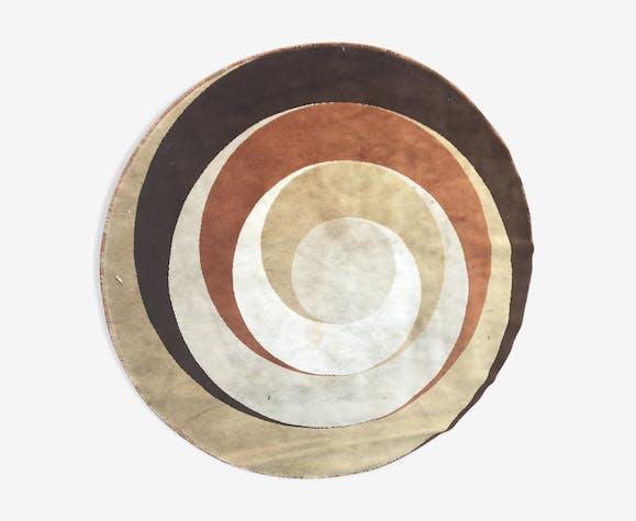 Tapis de laine circulaire années 1970 - 200x200cm