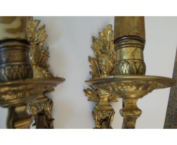 Paire d'appliques bronze buste de femmes cariatides