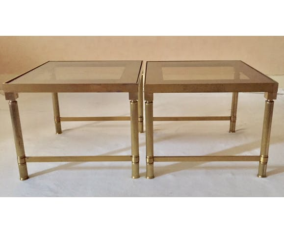 Golden brass tables glass mirror effect