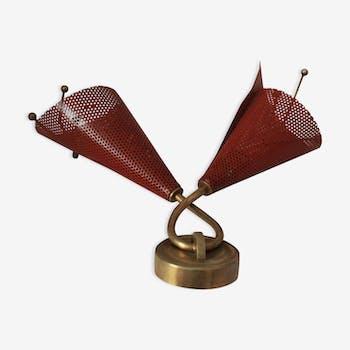 Applique en métal perforé rouge 1950