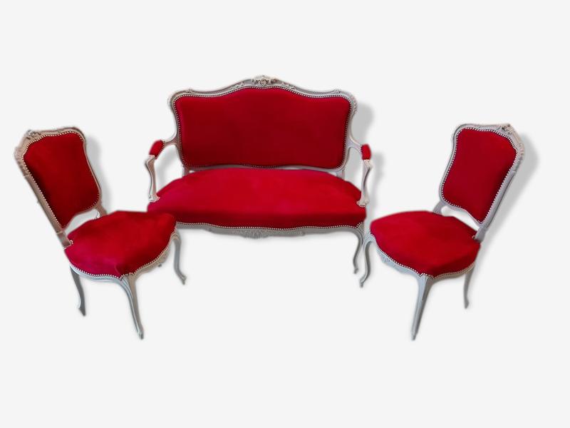 Salon 3 piéces ancien style Louis XV Canapé et fauteuils bois cérusé