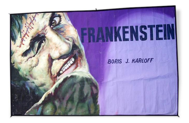 Cinéma vintage frankenstein 1950 bâche peinte originale ancienne peinture