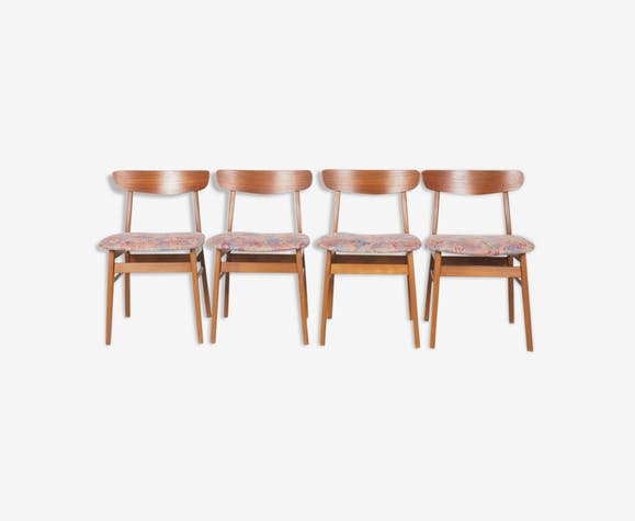 Set of 4 vintage teak Danish design dinner chairs