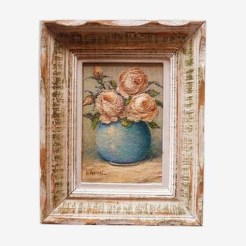 """Peinture à l'huile """"bouquet de roses"""" encadré vers 1950."""