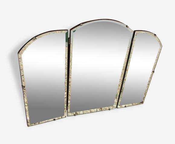 Miroir Triptyque art deco - verre et cristal - argent (Couleur ...