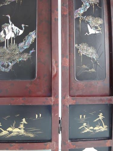 Ancien paravent Japon laque decor de grues marqueterie de nacre XIXe